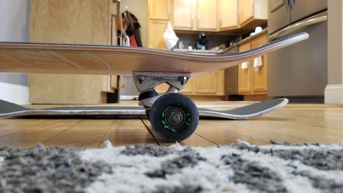 Shows skateboard deck pop of the santa cruz vx deck